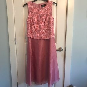 Pink dress with rose detailing and shawl